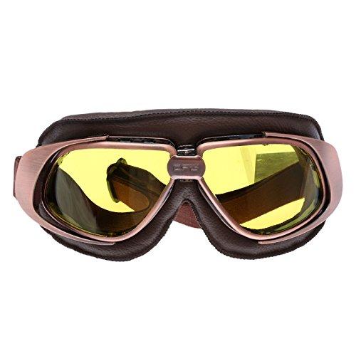 Retro Vintage Sonnenbrille Schutzbrille Pilot Motorrad Sport für Harley - Gelb Glas