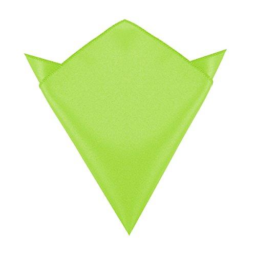 Preisvergleich Produktbild OM3 T-10 Neongrünes Einstecktuch Seidig glänzend Herren Smoking Kavalierstuch Uni Tie Hochzeit Business Schlips dünn Handmade (NEONGRÜN)