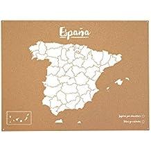 Miss Wood Woody Map XL - Mapa del mundo de corcho con diseño España , color blanco
