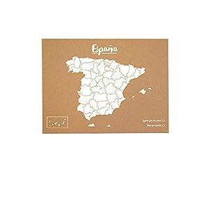 Miss Wood Mapa de España de Corcho, Pino, Blanco, XL-60x90cm