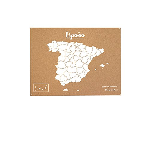 Miss Wood Woody Map XL - Mapa del mundo de corcho con diseño España , color blanco