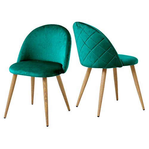 CLIPOP Juego de 2 sillas de comedor de terciopelo con respaldo y...