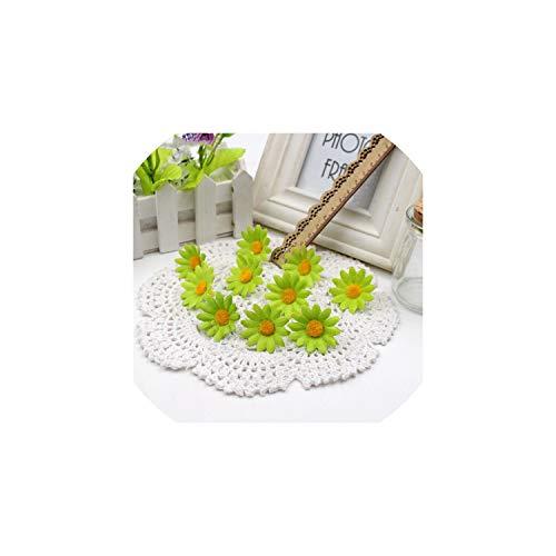 Eternity Bliss Künstliche Blumen 50pcs Kleine Silk Sonnenblume-Kopf-Hochzeit Dekoration, Grasgrün