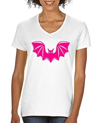 Comedy Shirts - Halloween Fledermaus - Damen V-Neck T-Shirt - Weiss/Pink Gr. S (Pink S Tochter Halloween)