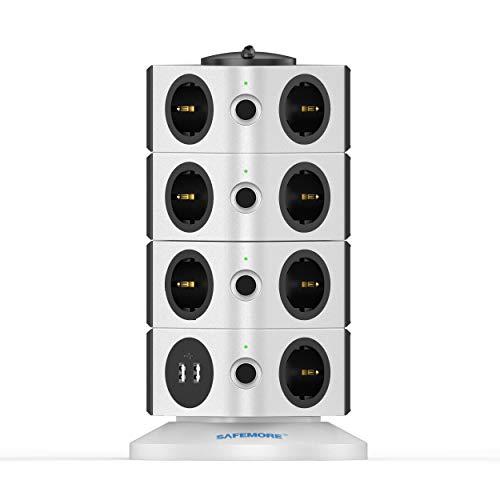 SAFEMORE Regleta de Enchufes Vertical de 15 Tomas Corrientes y 2 Rapida USB, Alargadora Cable de 1,8m con Protección y Interruptor, Torre Ladron Alargador, Base Múltiple, Tapón de Seguridad, 2500W/10A
