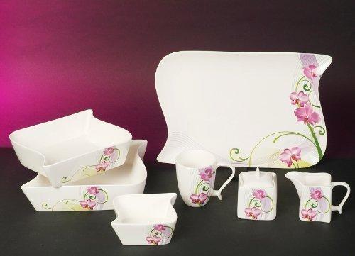 Milchgießer Zuckerdose mit Deckel teilig Ozean Ocean Orchidee Linien Dekor Neu Eckig Porzellan...