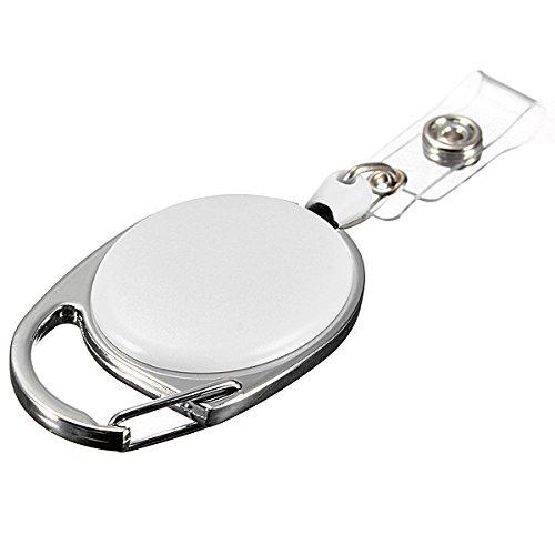 GOZAR Einziehbarer Rollen Schlüsselanhänger Einziehbarer Karabinerhaken Key-Ring Schlüsselanhänger-Kartenhalter - Weiß
