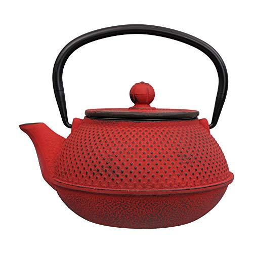 Tealøv TEEKANNE GUSSEISEN 800 ml - Gusseisen Teekanne im japanischen Stil - Gusseiserne Teekanne mit Sieb aus Edelstahl - Hervorragende Wärmespeicherfähigkeit- Langlebig - Arare Japan Rot