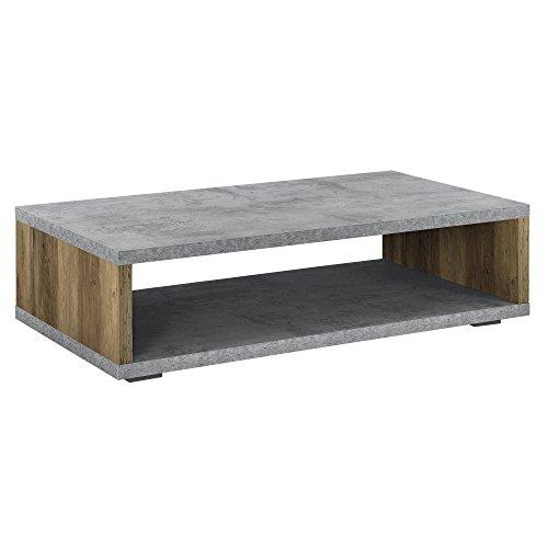[en.casa] Tavolino da salotto moderno - Effetto calcestruzzo/legno - Telaio in accaio - 110 cm x 60 cm x 30 cm