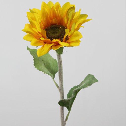 artplants Set 3 x Künstliche Sonnenblume, gelb-orange, 60 cm, Ø 14 cm – Kunstblumen/künstliche Blumen