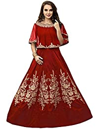 Lilots Tafeta Silk Red Heavy Embroidery Beed Work Semi Stitch Salwar Kameez