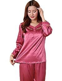 CHUNHUA imitación de la mujer pijamas de seda de mediana edad yardas gran sección delgada de manga larga traje de seda chándal , a , xxxl