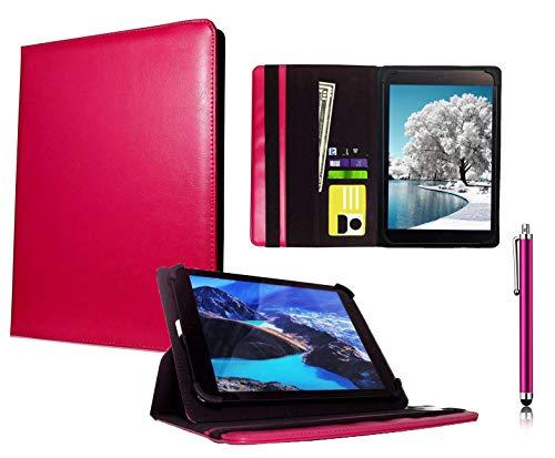Galaxy Store Rosa Universal PU Leder Tasche Hülle Wallet Brieftasche Case mit Kapazitiver Stift Touch für Archos 101 Platinum 3G Tablet/Diamond Tab (2017) 10.1 Zoll (10-11 Zoll)