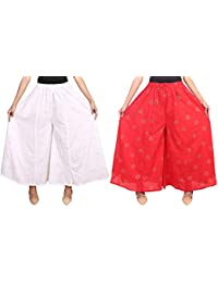 Fashion Store Women's Cotton Stylish Printed Full Flair White & Red Plazo (Free Size, Set Of 2)
