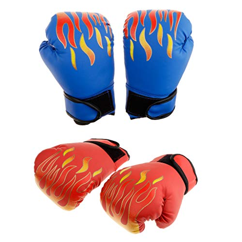 B Baosity 2 Pares Guantes de Boxeo con Tapete de Espuma EVA Suave Cómod Accesorios de Entrenador para Entrenamiento de Karate Rojo+Azul