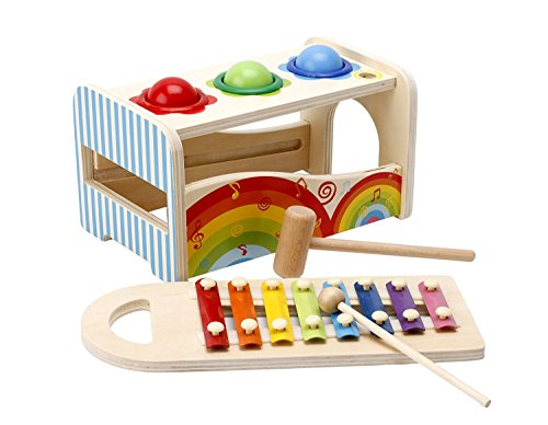Lewo Wooden Kids Musical Toys Pound Tap Bench with Slide Out Xylophone Hammer Early Educational Games for Toddlers