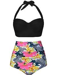 EasyMy Vintage Acanaló el Bikini del Bañador de Alta Cintura