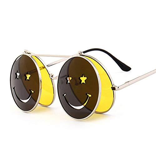 TIANKON Nette lächelnde Gesichts-Frauen-faltende Sonnenbrille-Mann-Doppellinsen-abgetönte Gläser Uv400,Gelbd