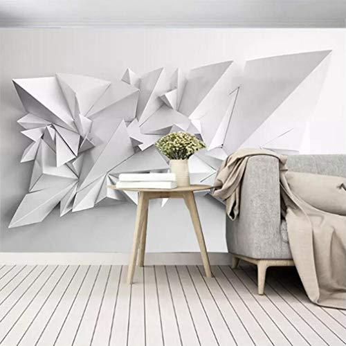 ELEGANT ROOM MURAL DECOR A 3D Wandbild 3D Visuelle Schwarzweiss-Origami Moderne Tapete Einfaches Wohnzimmer Schlafzimmer TV Hintergrundbild Flash Silber Tuch, 448 * 280cm