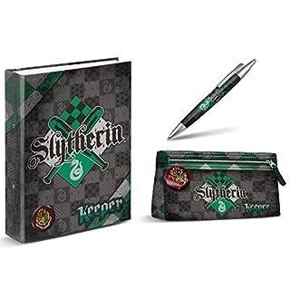 aucun Harry Potter Slytherin A4 Binder + Harry Potter Pencil Case - Slytherin + Harry Potter Pen - Slytherin 14 cm