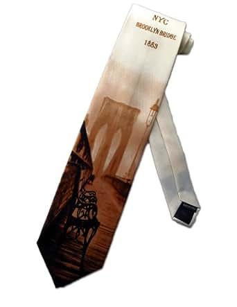 Danggi Man Mens Brooklyn Bridge Necktie - Beige - One Size Neck Tie