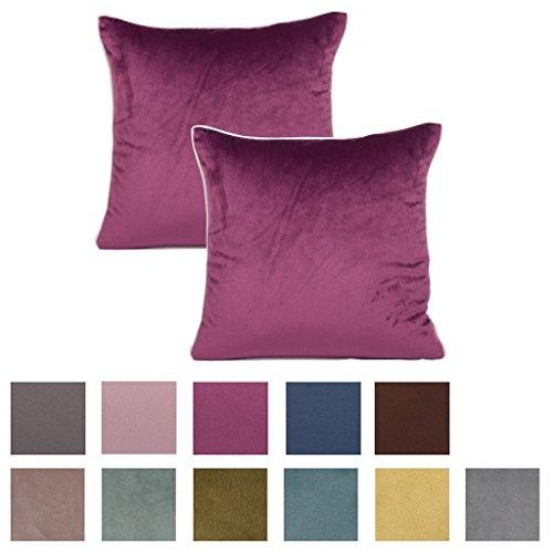 PLANDV 2 Stück einfarbig dicken Chenille mit weißen Rohrleitungen dekorative Kissenbezug, erhältlich in 11 Farben und 9 Größen (40x60cm,Purple)