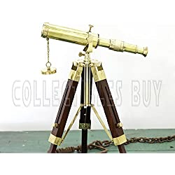 Nautical Marine Navy Brass Telescope Brown Wooden Tripod