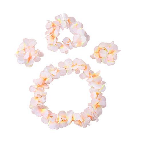 aiian Stirnband Halskette armbänder Set Hawaiian Luau tropischen Sommer Tiki Pool Mahalo Blume Beach Party Dekorationen (Weiß) ()