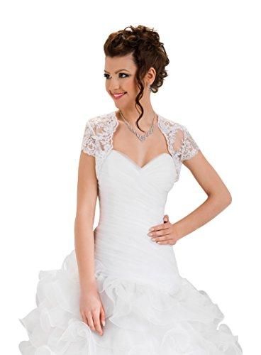 OssaFashion Damen Hochzeit Top Spitzen-Jacke fur die Braut Spitzen Bolero Bolerojackchen Jacke kurzer langer Armel