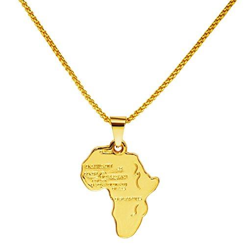 MCSAYS Männer-Afrika-Karte Anhänger Hip Hop 29.5Inch Ketten-Halskette