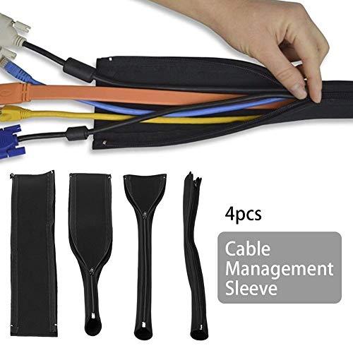 0e7e74e40a8b Flexible DIY Neoprene Cable Management Sleeve Zipper Wrap Wire Hider Cover  Organizer 4pcs