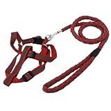 Rot Grau 1cm OD Licht reflektierende Verstellbare Hundegeschirr Leine gesetzt 47,2 'Lange