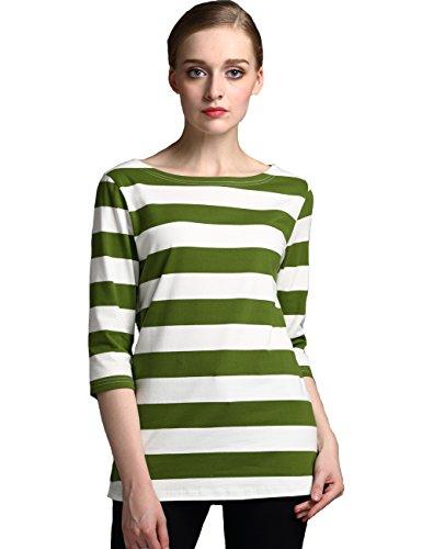 Camii Mia Damen 3/4 Arm Baumwolle Gestreift Langarmshirt (X-Large, Gras-Grün) (T-shirt Gras Grünen)