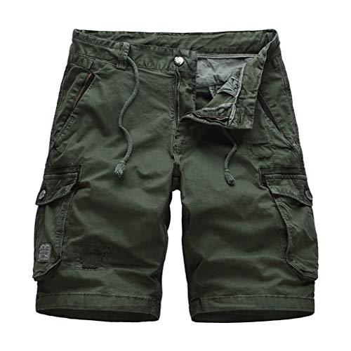 GreatestPAK Kühler Sommer Herren Baumwolle Camouflage Cargoshorts Lässig Kurze Hosen Multi-Pockets 1/2 Overalls,Armeegrün,EU:L(Tag:34) Premium Bib Overall