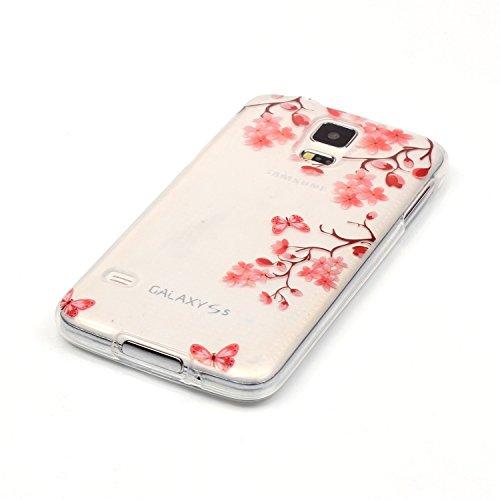 iPhone 5C Hülle Transparent Weiche Silikon Schutzhülle,Weicher Flexibel Klar Gel Silikon TPU Hülle Superdünn Stoßfest Tasche Telefon-Kasten Schutz Tasche Schutzhülle Durchsichtig Handyhülle Silikon Ca Rosa Blumen-Schmetterling