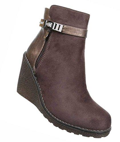 Damen Boots Wedges mit Strass  Frauen-Stiefel Wadenhohe-Stiefel   Schuhe Lederoptik Schlupf-Stiefel...