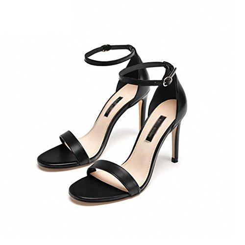 Sandali Open Toe in Vera Pelle Sandali con Tacco Alto Femminili Estivi Tacchi Alti Femminili alla Moda Sexy (Alto 9cm) (Color : Black, Size : 39)