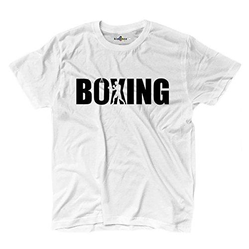 KiarenzaFD T-Shirt Boxen Boxing Boxer Ring Sack Sport Kampf 1Herren, weiß