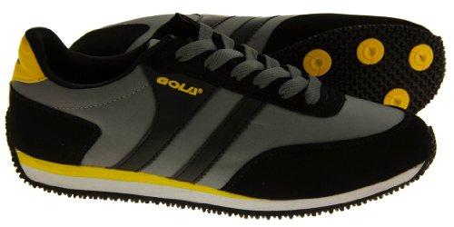 Footwear Studio , Baskets mode pour homme Black, Grey & Yellow