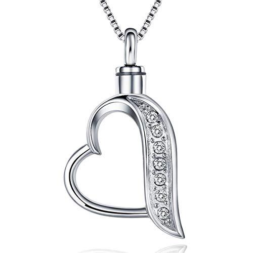 Quiges Memorial Urna de Cremación Colgante de Acero Inoxidable Corazón Abierto con Circonita con Collar de Eslabones de Cadena Ajustable 46 a 52 cm