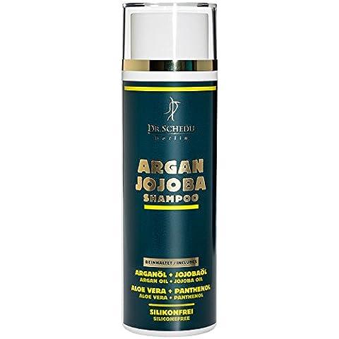 Dr. Schedu Shampoo Argan e Jojoba 200ml, per capelli secchi e crespi, contiene Aloe Vera + Pantenolo, senza silicone, made in Germany!