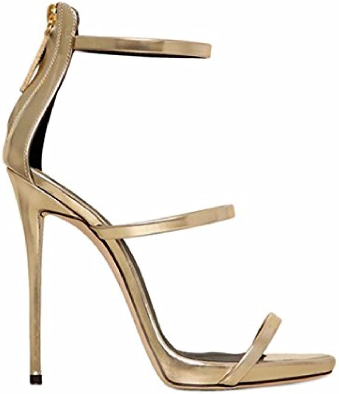 Sandalias De Gran Tamaño / Para Mujer Tacón Alto / Raíz De Bolso / Punta Abierta / Zapatos Plateados De Oro Para...