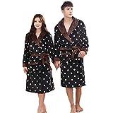 TINA Polka DOT Flanella Coppie Accappatoio Kimono Abbigliamento da Notte Accappatoio da Bagno Donna Uomo Vestaglia con Cintura Camicie Lunghe per Gli Amanti, L, Nero