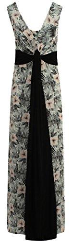Plus Grecian Größe Kleid (Chocolate Pickle ® Neue Damen Plus Größe Grecian Boob Knot Blumendruck-lang Maxi)