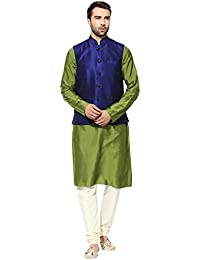 kisah Jute jacquard silkWovenWaistCoat for For Men's