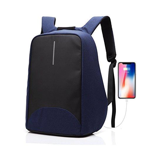 Sac à dos pour ordinateur portable/GENOLD Sac Antivol pour 15.6 pouces avec port de charge USB,Sac Imperméable pour loisir/affaires,homme/femme-Bleu
