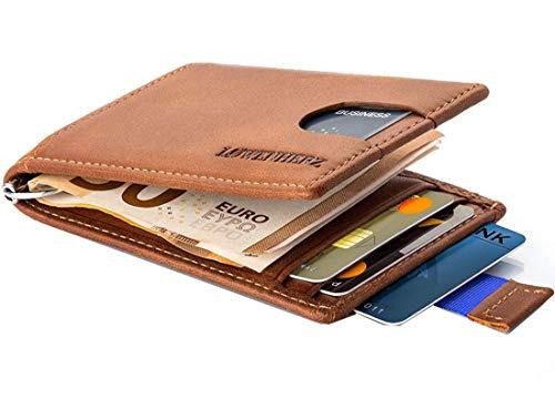 LØWENHERZ ® Simba - Slim Wallet mit Geldklammer - Leder - Kredit-Karten-Etui für Herren - Portemonnaie mit RFID-Schutz (Cognac-braun mit Blauer Lasche) - Herren Geld-clip Mit Portemonnaie