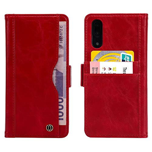 "BINGRAN Huawei P20 Hülle, 2 in 1 Premium PU Leder TPU Innen [Abnehmbare Magnetische] Standfunktion Karteneinschub Schale Schutzhülle Tasche Etui Hülle für Huawei P20 5.80"" Rot"