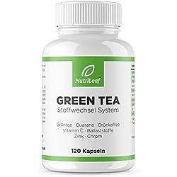 NutriLeaf Green Tea / Stoffwechsel System / Grüntee + Guarana + Grünkaffee / 120 Kapseln / Qualität aus Deutschland