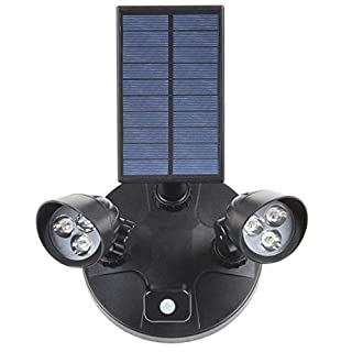 Floodlight Garden Wall Hanging Lamp Double Head Integrated Street Light LED Solar Body Sensor Light White Light
